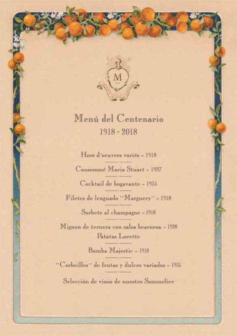 Majestic Hotel & Spa Special Centenary Menu
